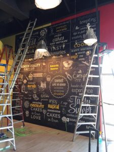 Custom vinyl wall mural installation