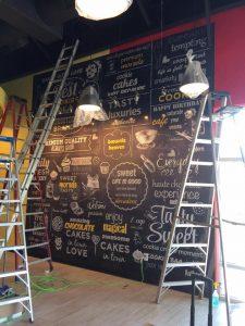 Custom vinyl wall mural installation